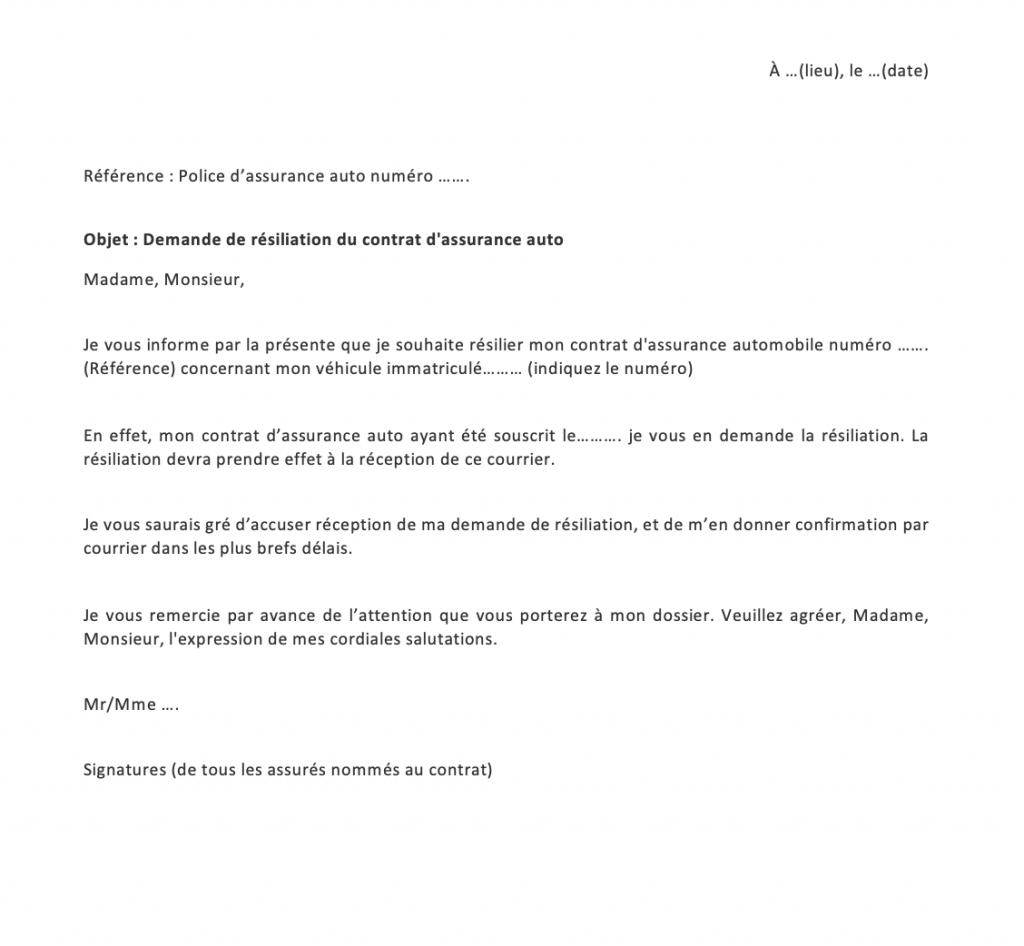 lettre de resiliation assurance auto
