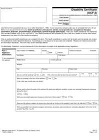 OCF-3 Disability Certificate