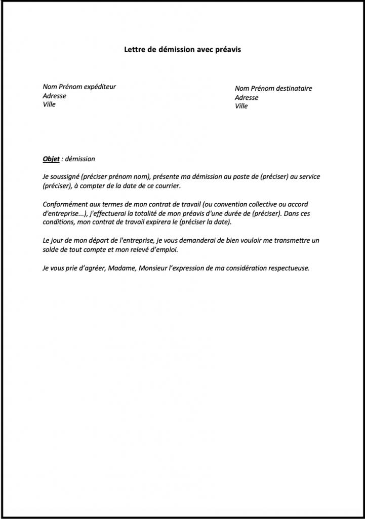 lettre demission avec preavis quebec