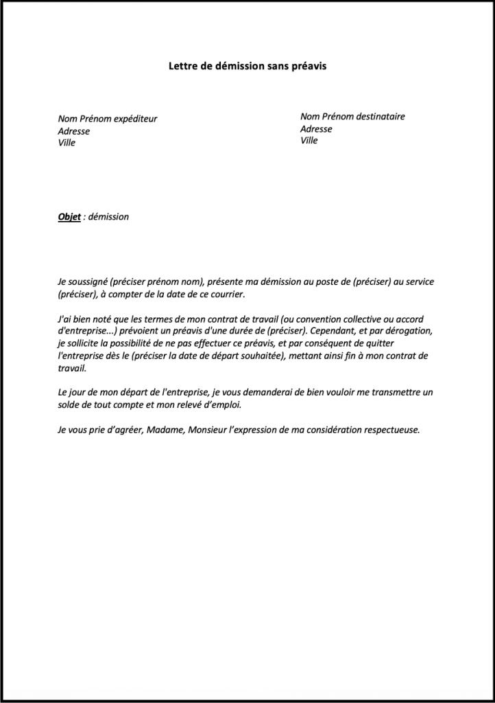lettre demission sans preavis quebec