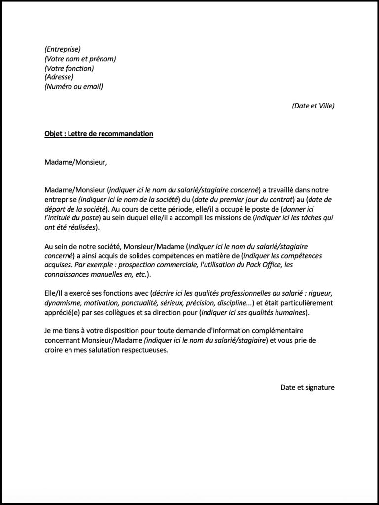 lettre recommandation quebec 1