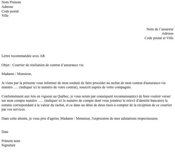 lettre resiliation assurance vie 1