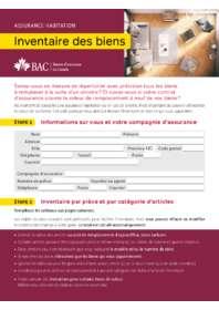 Formulaire inventaire des biens BAC